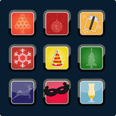 Set of Christmas app icons, vector — Stock Photo