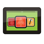 Tablet pc computer with Christmas app icons, vector — Stock Photo