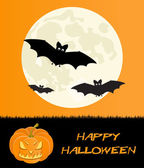 Halloween holiday card with scary pumpkin and bats — Stock Photo