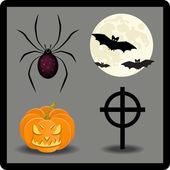 Set of Halloween app icons with scary pumpkin and bats — Stock Photo