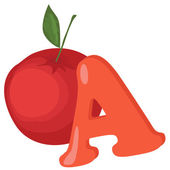 Alphabet for kids, letter a, vector illustration — Stockfoto