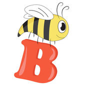 Alphabet for kids, letter b, vector illustration — 图库照片