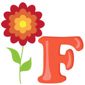 Alphabet for kids, letter f, vector illustration — Stock Photo