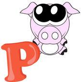 Alphabet for kids, letter p, vector illustration — Stock Photo