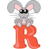 Alphabet for kids, letter r, vector illustration — Stock Photo