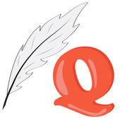 Alphabet for kids, letter q, vector illustration — Stock Photo