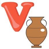 Alphabet for kids, letter v, vector illustration — Stock Photo