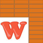 Alphabet for kids, letter w, vector illustration — Stock Photo