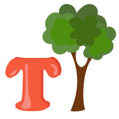 Alphabet for kids, letter t, vector illustration — Stock Photo