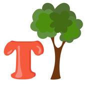 Alphabet for kids, letter t, vector illustration — Stock Photo