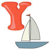 Alphabet for kids, letter y, vector illustration — Stock Photo