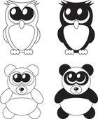 Cute cartoon owl and panda with big eyes, vector — Stock Photo