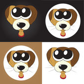 Set of cartoon puppies (dogs) with big eyes, vector — Stock Photo