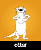 Funny cartoon walking river otter, vector illustration — Stock Photo
