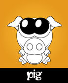 Very cute piglet with big eyes, vector — Stock Photo