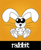 Cute rabbit with big eyes, vector illustration — Stock Photo