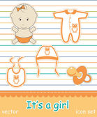 Colorful icon set of baby goods, vector — Stock Photo