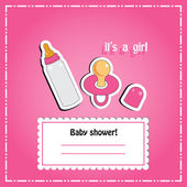 New arrival card (baby shower), invitation, vector illustration — Foto de Stock
