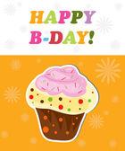 Happy birthday funny greeting card, vector illustration — Stock Photo