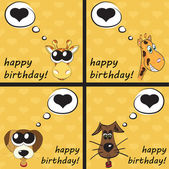 Happy birthday funny greeting card with animals, vector illustra — Stock Photo