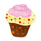 Cartoon festive cup cake, vector illustration — Stock Photo