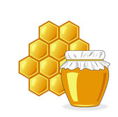 Bee's honeycomb and jar of honey, vector illustration — Stock Photo