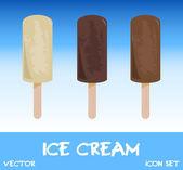 Icon set of ice cream, vector illustration — Stock Photo