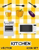 Icon set of kitchen appliances, vector illustration — Stock Photo