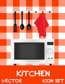 Vector illustration of kitchen (microwave plus appliances) — Stock Photo