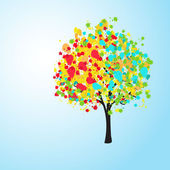 Pretty colorful abstract background with a tree, vector — ストック写真