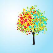 漂亮的彩色抽象背景与一棵树、 矢量 — 图库照片