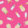 Cute baby background, seamless pattern, vector — Stockfoto