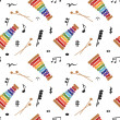 Musical (notes and xylophone) seamless pattern, vector — Stock Photo #23075386