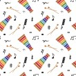 Musical (notes and xylophone) seamless pattern, vector — Stock Photo