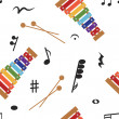 Musical (notes and xylophone) seamless pattern, vector — Stock Photo #23075388