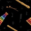 Musical (xylophone and flute) seamless pattern, vector — Stock Photo #23075398