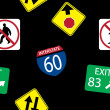 Vector background with road signs, seamless pattern — Stock Photo #23077442
