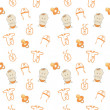 Cute baby background, seamless pattern, vector - Stock Photo