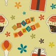 Vector happy birthday vintage background , seamless pattern — Foto de Stock
