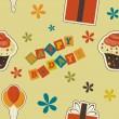 Vector happy birthday vintage background , seamless pattern — Stock Photo