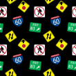Vector background with road signs, seamless pattern — Stock Photo #23079596