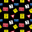 Stock Photo: Vector background with road signs, seamless pattern