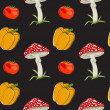 Vector summer background with  vegetables, seamless pattern — Foto Stock