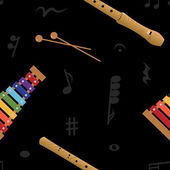 Musical (xylophone and flute) seamless pattern, vector — Stockfoto
