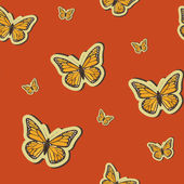Vector summer background with butterflies, seamless pattern — Stock Photo