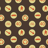 Vector background with road signs, seamless pattern — 图库照片