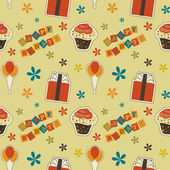 Vector happy birthday vintage background , seamless pattern — Stock Photo