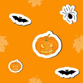 Vector Halloween orange cartoon background, seamless pattern — Stock Photo