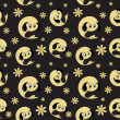 Vector background with cartoon  character, seamless pattern - Stock Photo