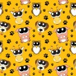 Stock Photo: Vector background with cartoon animals , seamless pattern